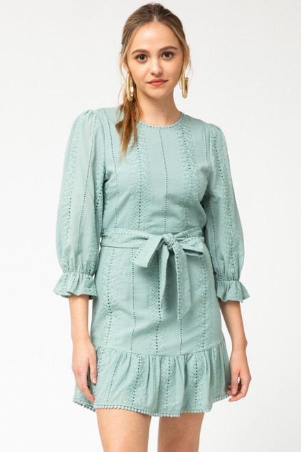 Eyelet Lace Dress w/ Tie-Waist, Sage