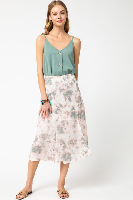 Tie-Dye Print Midi Skirt, Blush Multi