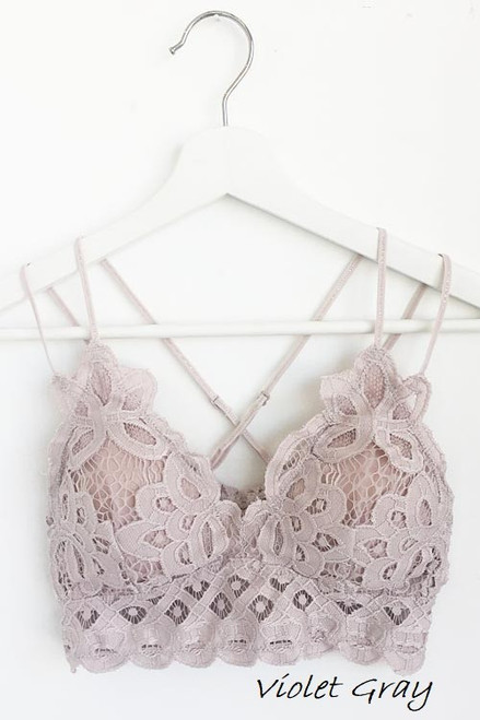 The Scalloped Lace Bralette, Violet Grey