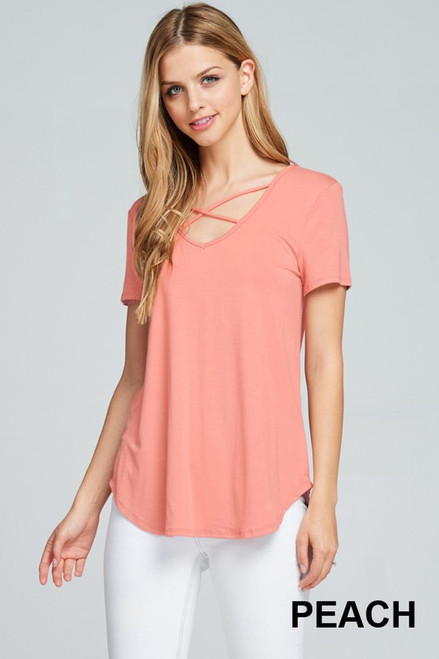 Modal Jersey Crisscross V-Neck Top, Peach