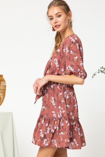 Floral Print Tiered Dress w/ Front- Tie, Mauve