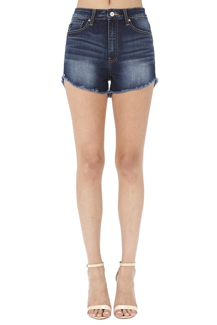 High  Rise Shorts, Dark Wash