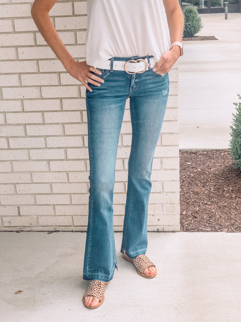 Ashley Mid Rise Flare, Medium Wash