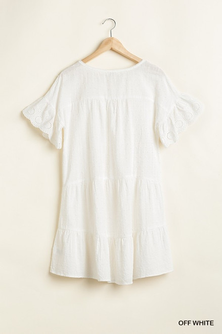 Baby Doll Tiered Dress w/ Lace, Off White