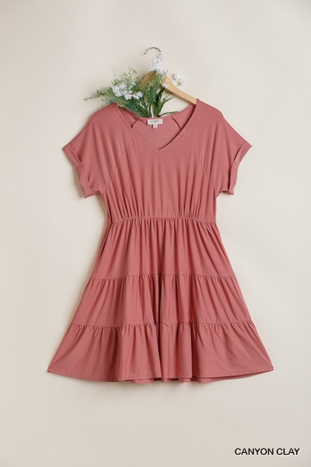V-Neck Tiered Babydoll Dress, Canyon Clay