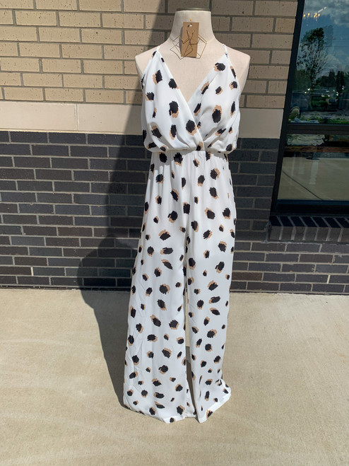 Animal Print Jumpsuit, Ivory