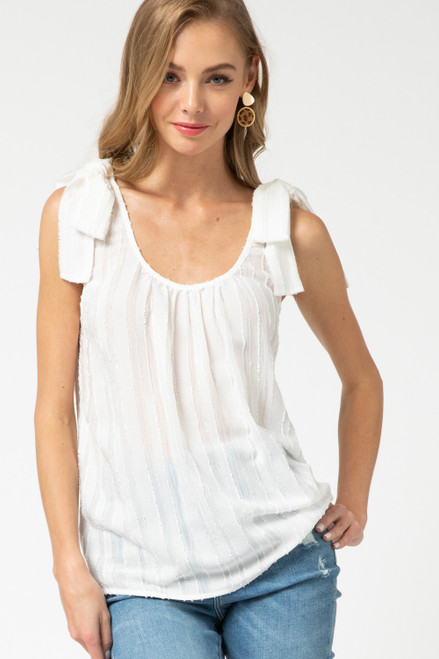 Tie Shoulder Tank, Off White