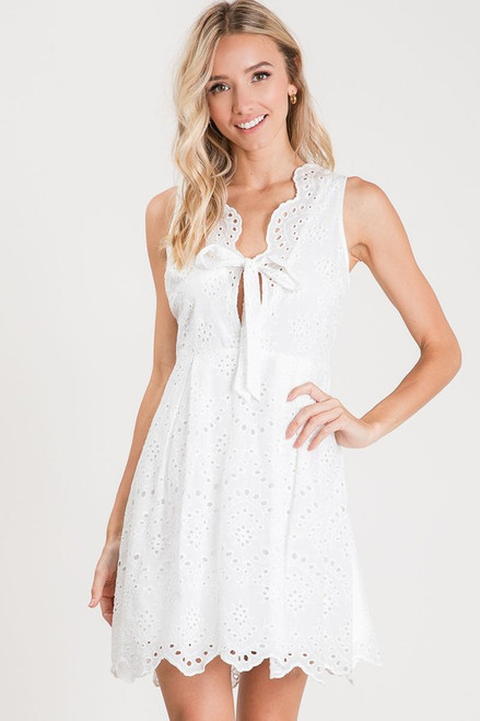 Lace Embroidered Dress, Off White