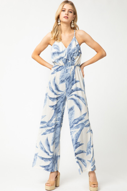 Tropical Print V-Neck Jumpsuit, Blue