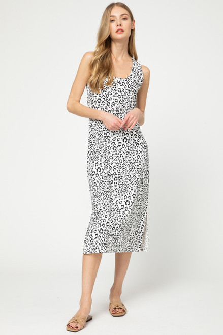 Leopard Print Midi Dress, Off White