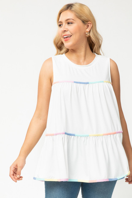 Curvy Sleeveless Ruffle Tiered Top, off White
