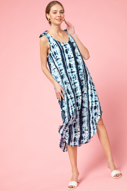 Tie Dye Round Hem Bottom Dress, Denim