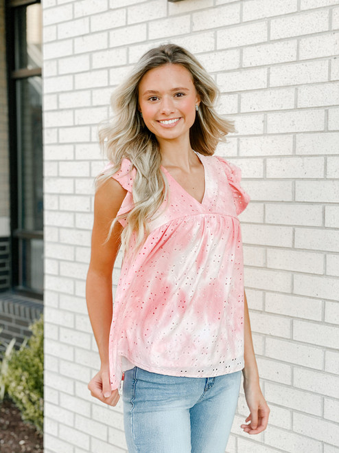 Tie Dye Eyelet Lace V-Neck Top, Pink