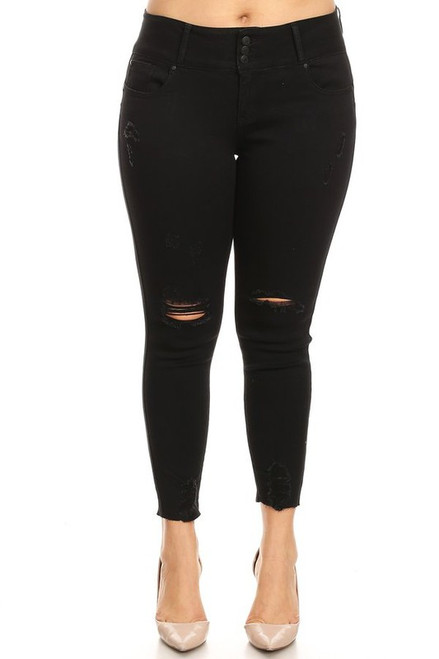 Curvy High Rise Distressed Skinny, Black