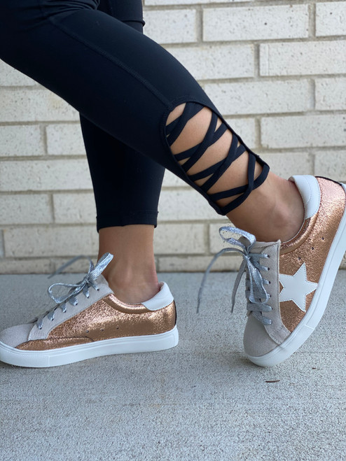 Star Detail Lace Up Sneaker, Rose Gold Metallic