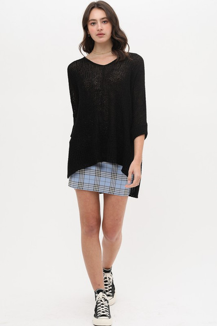 Open Knit Sweater, Black