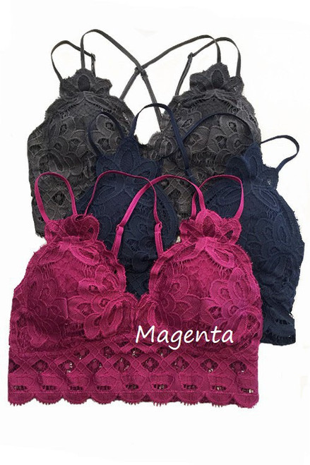 The Scalloped Lace Bralette, Magenta
