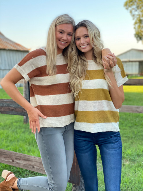 Striped Round Neck Top, Mustard