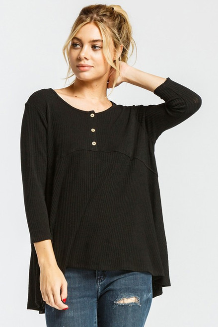 Button Down Babydoll Top, Black