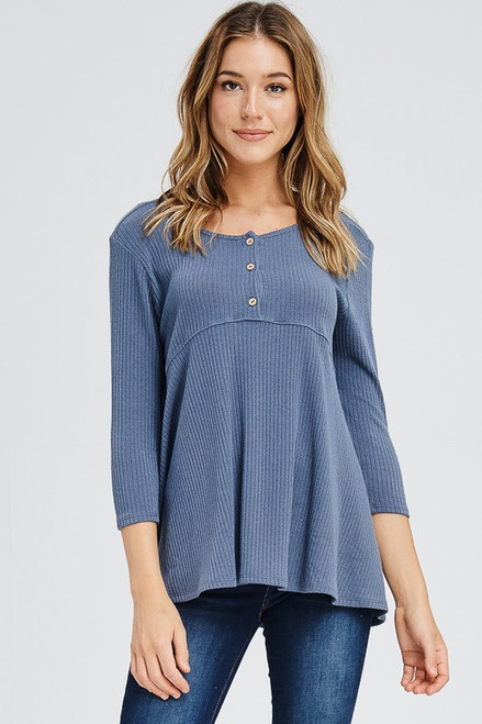Button Down Babydoll Top, Slate Blue