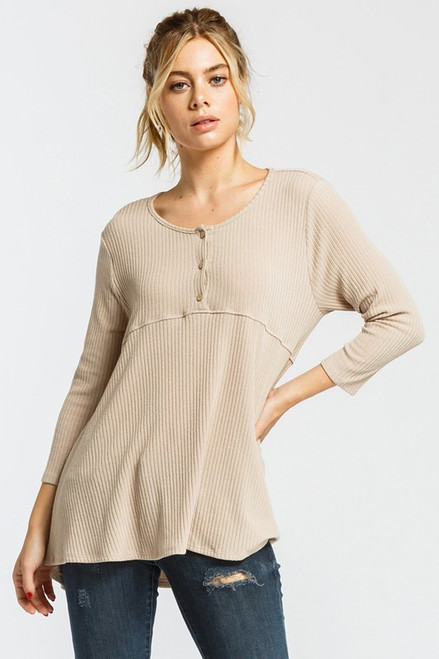 Button Down Babydoll Top, Taupe
