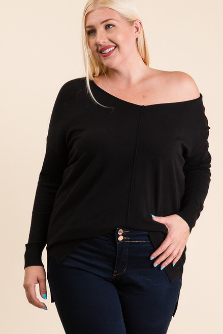Curvy V-Neck Sweater Tunic, Black