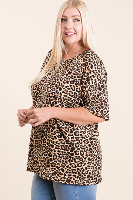 Curvy Leopard Tunic Top, Taupe