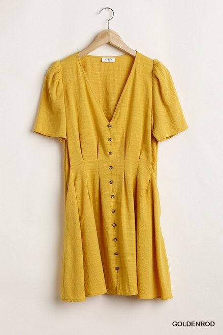 Gathered Waistline Button Down Dress, Goldenrod