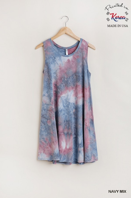 Sleeveless Tie Dye A-Line Dress, Navy Mix