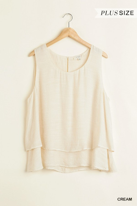 Curvy Sleeveless Layered Top, Cream