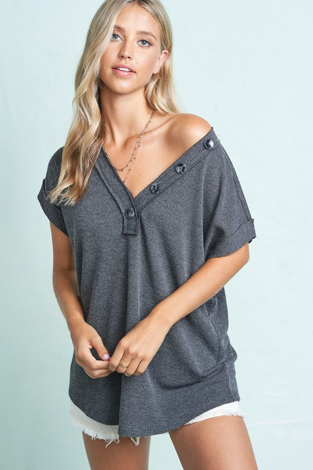 Button Detail V-Neck Relaxed Fit Top, Black