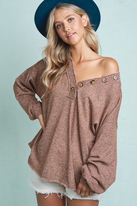 Button Detail V-Neck Pullover Top, Camel