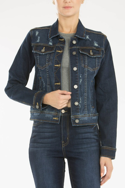 Distressed Denim Jacket, Dark