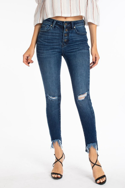 High Rise Button Down Ankle Skinny, Medium Wash