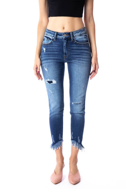 Destroyed High Rise Ankle Skinny, Dark
