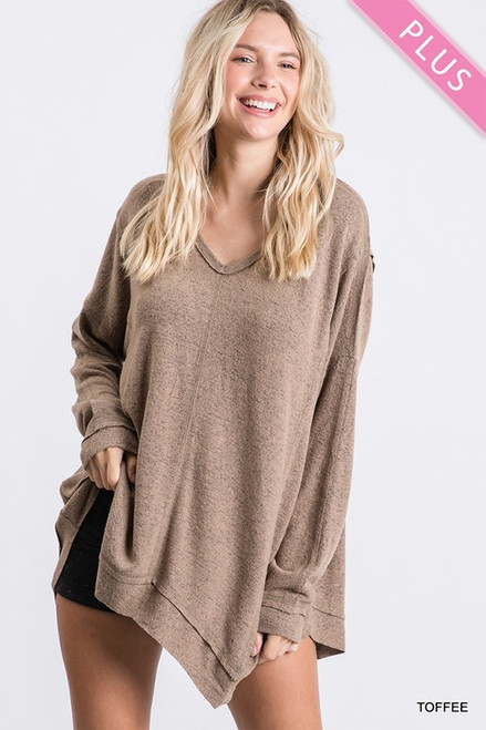 Curvy Solid Knit Long-sleeve Top, Toffee
