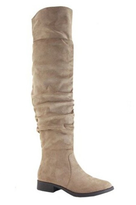 Coll Suede Knee High Boot, Taupe