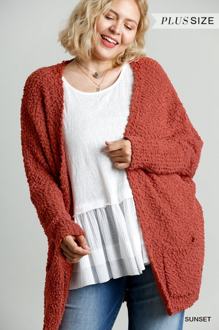 Curvy Open Front Cardi Sweater w/ Pockets, Sunset