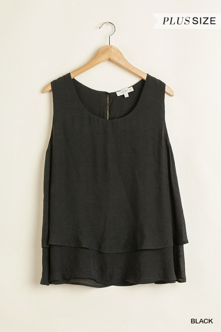 Curvy Sleeveless Layered Top, Black