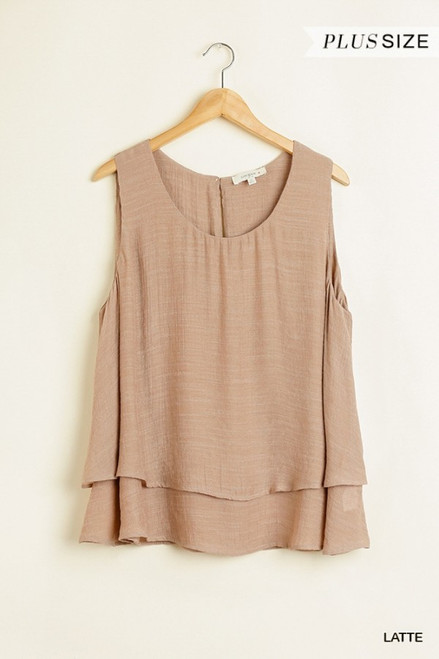 Curvy Sleeveless Tiered Top, Latte