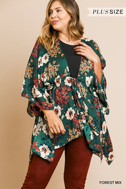 Curvy Floral Bell Sleeve Kimono, Forest Mix