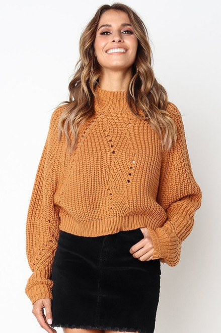 Cropped Hollow Knit Sweater, Carrot
