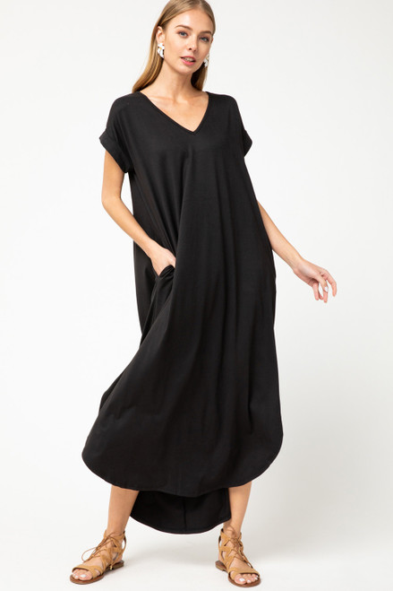 Solid V-Neck Maxi Dress, Black