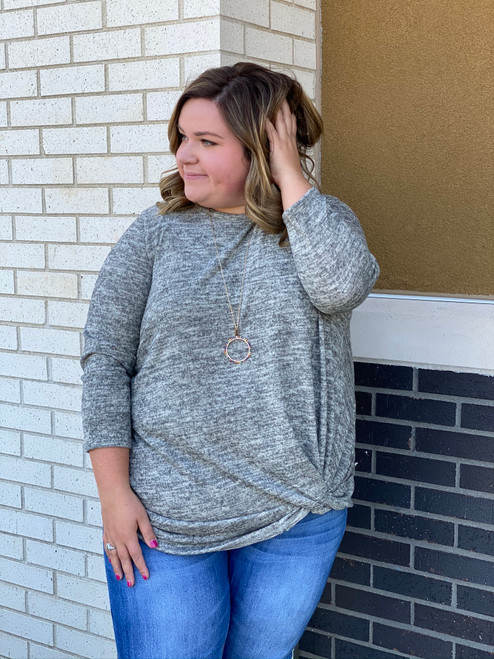 Curvy Top w/ Detailed Knot, Sand