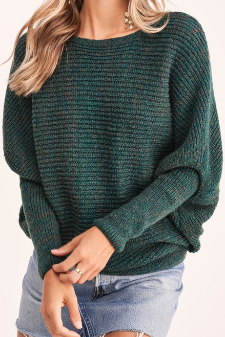 Ribbed Boatneck Sweater, H Green