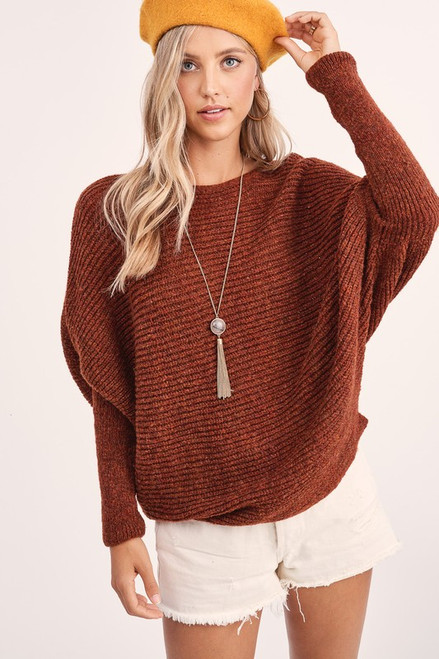 Ribbed Boatneck Sweater, Rust