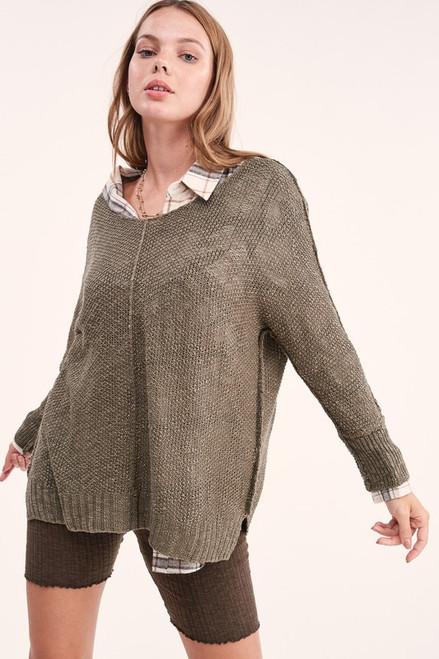 Open Knit Lightweight Sweater, Olive