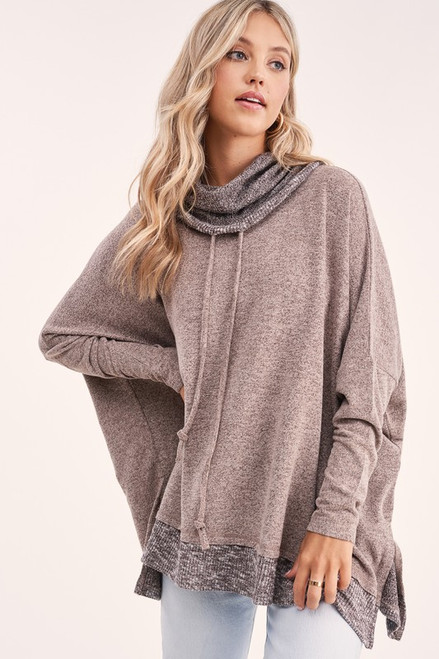 Cowl Neck Contrast Pullover, Mocha