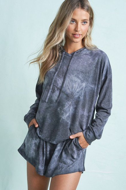 Long Sleeve Top & Short Tie Dye Set, Charcoal