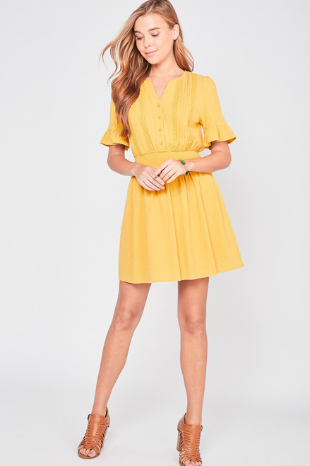 Lace Yoke Ruffle Sleeve Dress, Mustard